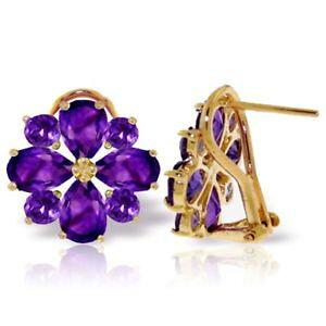 【送料無料】ネックレス アメジストデザインスタッドボルトkイエローゴールドイヤリングgenuine amethyst gems flower design studs 14k yellow gold earrings 485 ct
