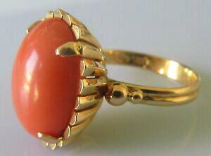 【送料無料】ネックレス イエローゴールドカボションコーラルリングサイズsecondhand 18ct yellow gold cabochon 62g coral ring size l 12