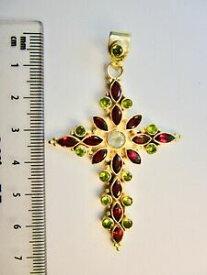 【送料無料】ネックレス シルバークロスペンダントガーネット925 st silver cross pendant with garnets amp; peridots
