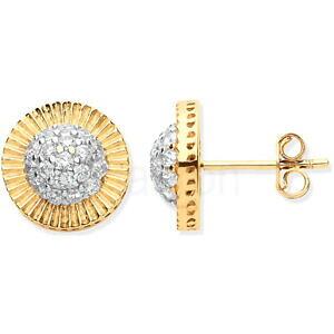 【送料無料】ネックレス イエローゴールドスタッドイヤリングサイズ9ct hallmarked yellow gold pave set stud earrings in 2 sizes to match that watch