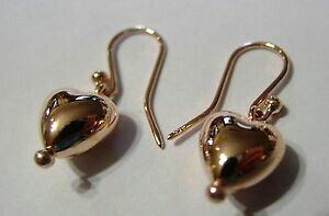 【送料無料】ネックレス ktソリッドローズゴールドハートイヤリングkaedesigns, 9ct 9kt genuine solid rose gold dangle puffed heart earrings