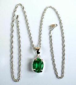 【送料無料】ネックレス コロンビアエメラルドスターリングシルバーチェーンペンダントoval colombian green emerald gemstone 925 sterling silver pendant with chain