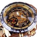 【送料無料】 腕時計 スポーツデザインベゼルゴールデンメンズウォッチスケルトンウォッチsport design bezel golde…