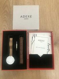 【送料無料】 腕時計 プチローズゴールドレザーストラップbrand adexe sistine petite rose gold amp; white watch with extra leather strap