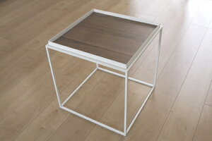 トレイテーブル400角WHウォールナット突板 サイドテーブル ローテーブル スタッキングシェルフ 日本製 メーカー直販 アイアン テーブル おしゃれ ナイトテーブル ベッドサイドテーブ