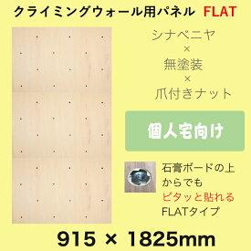 【シナベニヤ】無塗装 クライミングウォール用パネル FLAT(915 x 1825 mm 、表面サラッと、塗装なしの木目、Boltタイプ、パネルの裏側に金具の出っ張りを無くした、個人宅向けのボルダリングボード
