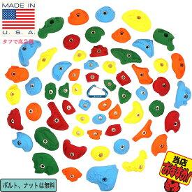 【耐久テスト済み / Boltタイプ】60 パック バライエティー  - 子供から大人まで遊べるパーフェクトパック、クライミングホールド(Bolt タイプ) 【ボルダリング、アイテム、アウトドア、ウォール、壁、自宅、家、ジム、スターターセット】60 Pack Variety