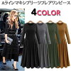 Basic design round neck long sleeve Maxi-length ab06221 pleated piece A line one piece long-length fall/winter women's fashion store [M flight 10/10]