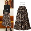 Fashion mail order [M service 10/10] lady's in silky material レオパード pattern waist rubber maxi length dressy skirt leopard pattern skirt long skirt maxi length skirt flared skirt hail pattern スカートレオパード pattern skirt spring and summer