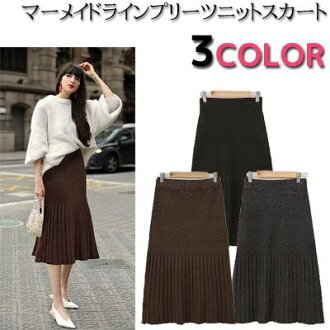 Pleats reshuffling mermaid line waist rubber knee lower length knit skirt mi-mollet length midi length long A-line skirt pleated skirt bottoms lady's fashion mail order in the fall and winter