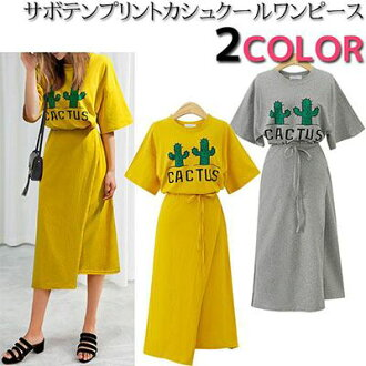 Cactus print dropped shoulder sleeve wide five minutes sleeve waist strap ribbon string long length Cache-coeur dress short sleeves lap dress knee bottom length dress Lady's fashion mail order in the spring and summer