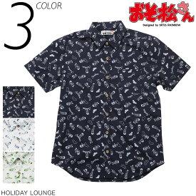 【おそ松さん×SR'ES RAINBOW】コラボレーションアロハシャツ 総柄 半袖シャツ ウッドボタン 松マーク ネイビー×ホワイト ホワイト×ネイビー ホワイト×グリーン 3色展開