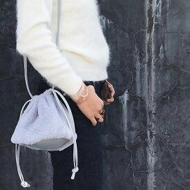 送料無料 M SELECT ファー巾着BAG 巾着 ファー きんちゃくバッグ バッグ ハンド 手提げ フェイクレザー エコファー フェイク 肩掛け 斜め掛け 2way 軽量 可愛い 小さめ ふわふわ レディース 鞄 かばん かわいい ポーチ セカンドバッグ お出かけ