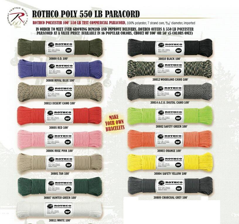 【 10m カット売り 】ロスコ ポリエステル製 パラコード Rothco Paracord 550 lbs 中芯7本入 550ポンド (中国製) ※ご注文時に色を指定してください。