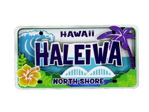 ハワイアン雑貨 ハワイ 雑貨 マグネット 2D立体デザイン おしゃれマグネット ライセンスプレート(HALEIWA) メール便対応可 磁石 冷蔵庫 ホワイトボード ハワイ お土産