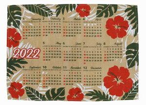 【送料無料】ハワイアン雑貨 インテリア ハワイアン 2022年 ジュート カレンダー 壁掛けカレンダー ワンページ ポスター(ハイビスカス&モンステラ) 南国 花 ハワイアン 雑貨 おしゃれ イン