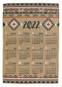 2022年 ジュート カレンダー 送料無料 ワンページ (アステカ) ネイティブ柄 ポスター アメリカン雑貨 インテリアハワイアン アジアン 雑貨 ハワイ お土産 メール便対応 送料無料