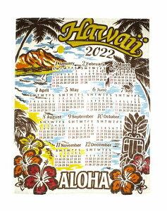 【送料無料】ハワイアン雑貨 インテリア ハワイアン 2022年 ジュート カレンダー 壁掛けカレンダー ワンページ ポスター(TIKI/ティキ) ヴィンテージ ヤシ ハイビスカス 花 ハワイアン 雑貨 お