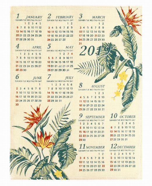 【送料無料】ハワイアン雑貨 ハワイアン インテリア 2019年 ジュート カレンダー 壁掛けカレンダー ワンページ 花(エルバ/バードオブパラダイス) ポスター ハワイアン 雑貨/おしゃれ インテリア ハワイアン雑貨/ハワイ お土産 雑貨