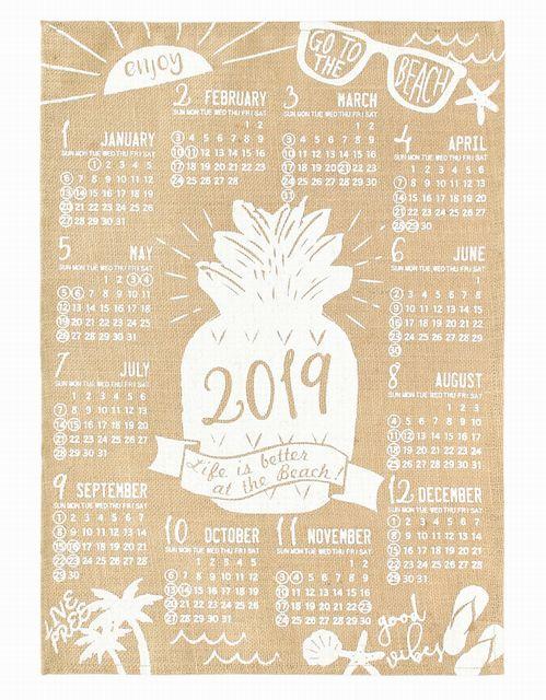 【送料無料】ハワイアン雑貨 ハワイアン インテリア 2019年 ジュートカレンダー ハワイアン 雑貨/ポスター カレンダー2019 ワンページ (ビーチ) 壁掛け おしゃれ ハワイアン雑貨 ハワイアン 雑貨 ハワイ お土産
