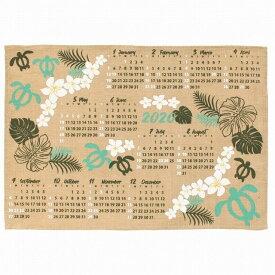 【送料無料】ハワイアン雑貨 ハワイアン インテリア 2020年 ジュート カレンダー 壁掛けカレンダー ワンページ (パライソ-ホヌ/ターコイズ) ハワイアン 雑貨 おしゃれ ポスター ハワイアン雑貨 ハワイ お土産 雑貨 メール便対応可