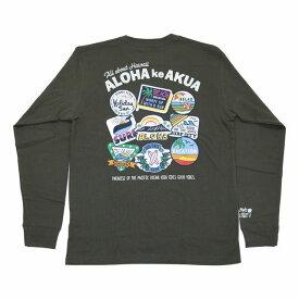 SALE ハワイアン雑貨 ハワイアン 雑貨 ALOHA MADE アロハメイド メンズ 長袖 Tシャツ ロングTシャツ(メンズ カーキ) 194MA1LT057 メール便対応可 ハワイアン雑貨 ハワイアン 雑貨 ハワイ ハワイアン サーフブランド