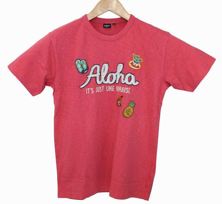 SALE ハワイアン雑貨 ハワイアン 雑貨 フララニ Hula Lani メンズ スラブ天竺 ワッペン 半袖 Tシャツ (レッド) 171-HU1730 メール便対応可 ハワイアン雑貨 ハワイアン 雑貨 ハワイ お土産 ハワイアン サーフ