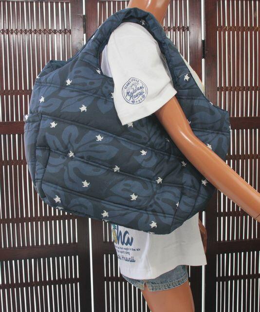 ハワイアン バッグ ハワイアン雑貨 フララニ 中綿トートバッグ マザーズバッグ スナップタイプ(ホヌ&モンステラ)HU418034 サーフブランドハワイアン 雑貨 バッグ
