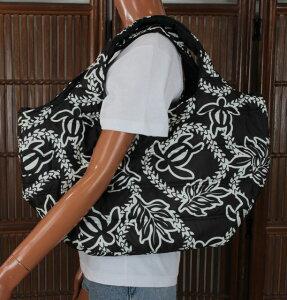 ハワイアン トートバッグ ハワイアン雑貨 フララニ 中綿トートバッグ マザーズバッグ スナップタイプ(ホヌ/ブラック) Hula lani 202HU4BG010 サーフブランドハワイアン 雑貨 バッグ