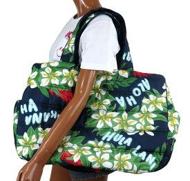 ハワイアン 雑貨 トートバッグ ハワイアン雑貨 フララニ 軽い 中綿 大トートバッグ 巾着タイプ(プルメリア/レイ) 212HU4BG016NVY-2サーフブランド ハワイアン バッグ マザーズバッグ