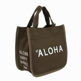 ハワイアン トートバッグ ハワイアン雑貨 ハレイワ HALEIWA アロハプリント ミニトートバッグ(ブラウン) HLBG-1803G ハワイアン雑貨 サーフブランド ハワイアン 雑貨 ハワイアン ハレイワ ハッピーマーケット