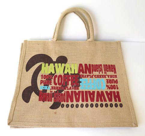 ハワイアン雑貨/ハワイアン 雑貨 ハワイアン ジュートバッグ(ホヌ&ハワイアンコーヒー) ハワイアン雑貨 ハワイ お土産 ハワイアン
