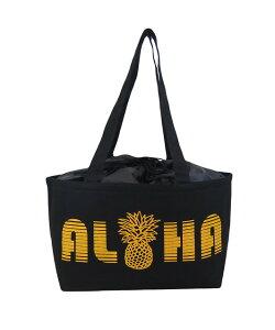 ハワイアン 保温保冷バッグ トートバッグ 大容量 レジカゴバッグ ALOHA パイナップル (ブラック) maka hou ハワイアン雑貨 ハワイ お土産 ハワイアン 雑貨