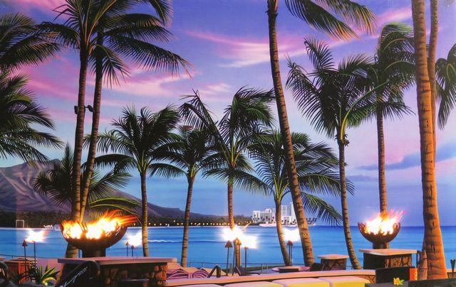 ハワイアン雑貨 インテリア ハワイアン 雑貨 栗山義勝 点灯式 キャンバス パネル絵(ラムファイヤー&ダイヤモンドヘッド) ハワイアン雑貨 ハワイ お土産 ハワイアン インテリア 照明