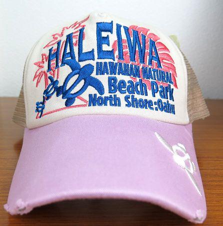 ハワイアン雑貨/ハワイアン 雑貨 ハワイアン メッシュキャップ(HALEIWA/ピンク)ハワイアン雑貨/ハワイ お土産 ハワイアン インテリア
