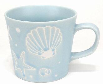 하와이안 잡화 쉘 무늬 머그 컵 커피 컵(워터 블루) 마린 하와이 선물 하와이 선물 잡화 하와이안 인테리어