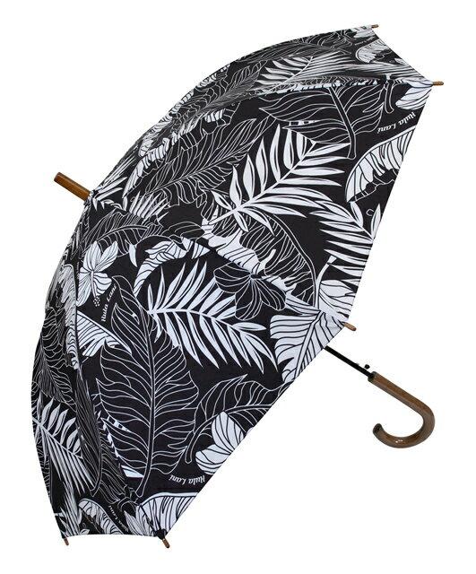 ハワイアン雑貨/ハワイアン 雑貨/傘 フララニ ワンタッチ 雨傘(ハイビスカス-リーフ/ブラック) 191HU4AC001アンブレラ ジャンプ傘 ハワイアン サーフブランド