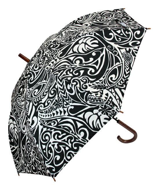 ハワイアン雑貨/ハワイアン 雑貨/傘 フララニ ワンタッチ 雨傘(リーフ/ブラック) 191HU4AC008ジャンプ傘 ハワイアン 雑貨/ハワイ ハワイアン サーフブランド
