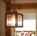 hom Houzestend small 木製 ペンダントライト ステンドグラス 北欧 玄関照明