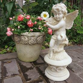 【オーナメント ガーデニング】 小鳥エンジェルA(ローズ)【天使 置物】( Gardening 天使置物 ガーデンオーナメント ) ★上品な天使が玄関でお出迎え【NOGAWA 野川農園】
