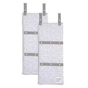 東和産業 洗濯ネット ランドリーネット まるごと洗える 干せる 3ポケットネット 2個セット ホワイト&グレー 約25×60cm