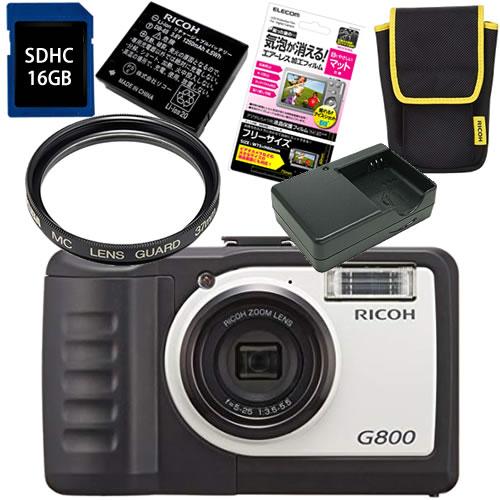 【Class10 SDカード16GB&予備バッテリー&充電器&純正ケース付】 リコー RICOH G800 &SD16GB&フィルター37mm&バッテリー&充電器&ケース&フィルム