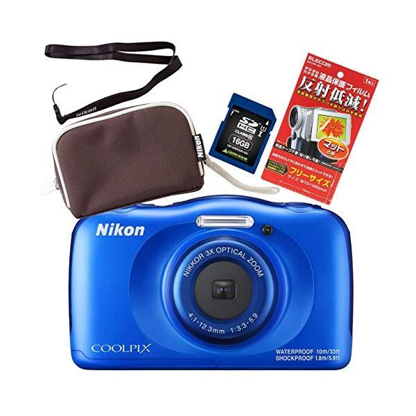 【SD16GB&ポーチ&ストラップ等セット】Nikon(ニコン) デジカメ COOLPIX W100 【防水デジカメ】