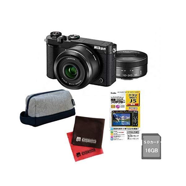 (5点セット)(ミラーレスカメラ)ニコン Nikon1 J5ダブルレンズキット N1J5WLKBK (Nikon)