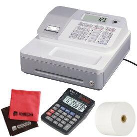 (ロール紙5巻&ミニ電卓セット)(消費税率簡単変更)カシオ SE-G1-WE ホワイト 電子レジスター [4部門 サーマルプリンタ LCD表示][CASIO SEG1WE](ラッピング不可)