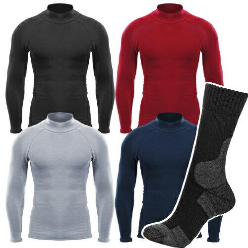 EON SPORTS(イオンスポーツ)HEAT RUB ロングスリーブモックネック&ソックス(ブラック 25cm〜27cm)(モックネック カラーサイズ選択式)(男女共通)(インナー/アンダーウェア)