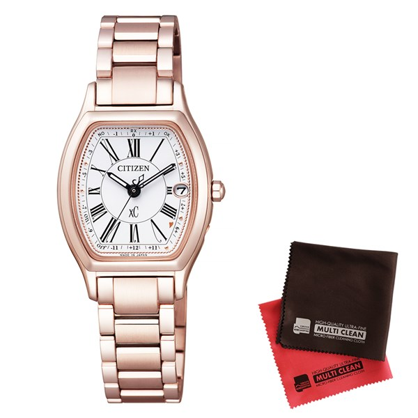 【セット】【国内正規品】[シチズン]CITIZEN 腕時計 ES9354-51A [クロスシー]xC レディース エコ・ドライブ電波時計 TITANIA LINE HAPPY FLIGHT シリーズ&クロス2枚セット