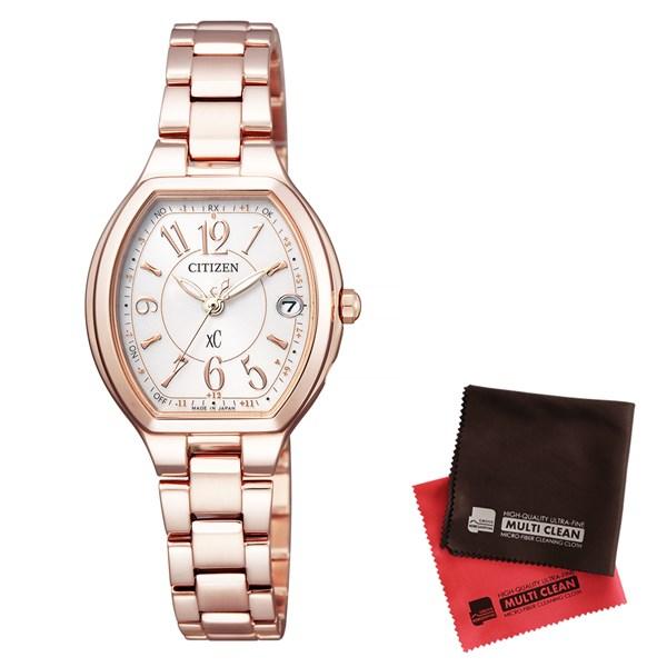 【セット】【国内正規品】[シチズン]CITIZEN 腕時計 ES9362-52W [クロスシー]xC レディース エコ・ドライブ電波時計 HAPPY FLIGHT シリーズ&クロス2枚セット