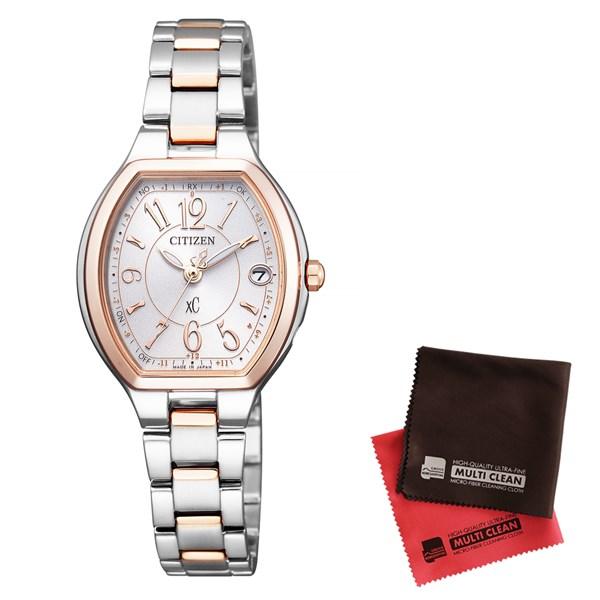 【セット】【国内正規品】[シチズン]CITIZEN 腕時計 ES9364-57A [クロスシー]xC レディース エコ・ドライブ電波時計 HAPPY FLIGHT シリーズ&クロス2枚セット