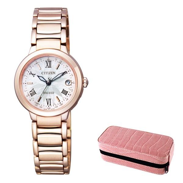 【セット】【国内正規品】(シチズン)CITIZEN 腕時計 ES9322-57W (エクシード)EXCEED レディース エコドライブ TITANIA LINE HAPPY FLIGHT&腕時計ケース2本用 ピンク(チタンバンド 電波ソーラー アナログ)